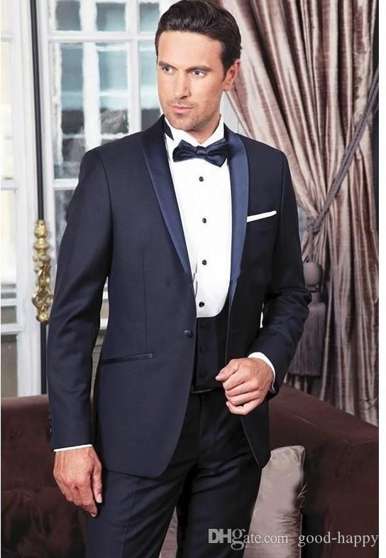 Azul marino Novios Esmoquin Shawl Lapel Groomsman Boda Traje de 3 piezas Moda Hombre de negocios Fiesta de graduación de la chaqueta (Chaqueta + Pantalones + Corbata + Chaleco) 2289