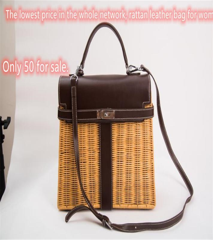 Кожа Lady Rattan сумка Азиатский Бали трикотажного большая емкость мода мешок солома лето ключ покупки с замком