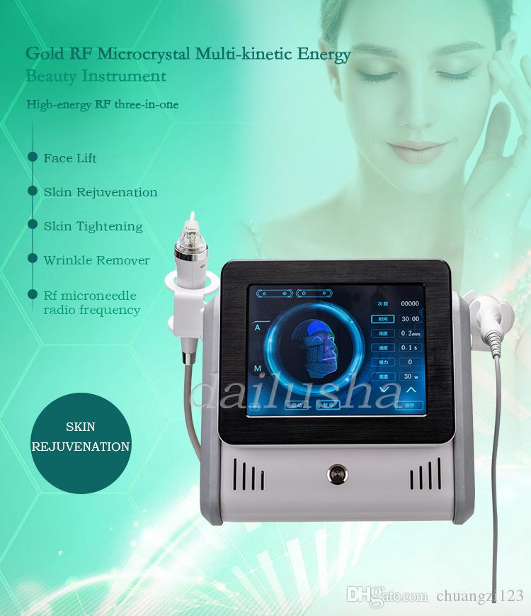 Fractional RF Equipment Facial Beauty Machine Radio Frequency Skin Tightening Anti Wrinkle Face Eye Body Massage with ice Head Home Use