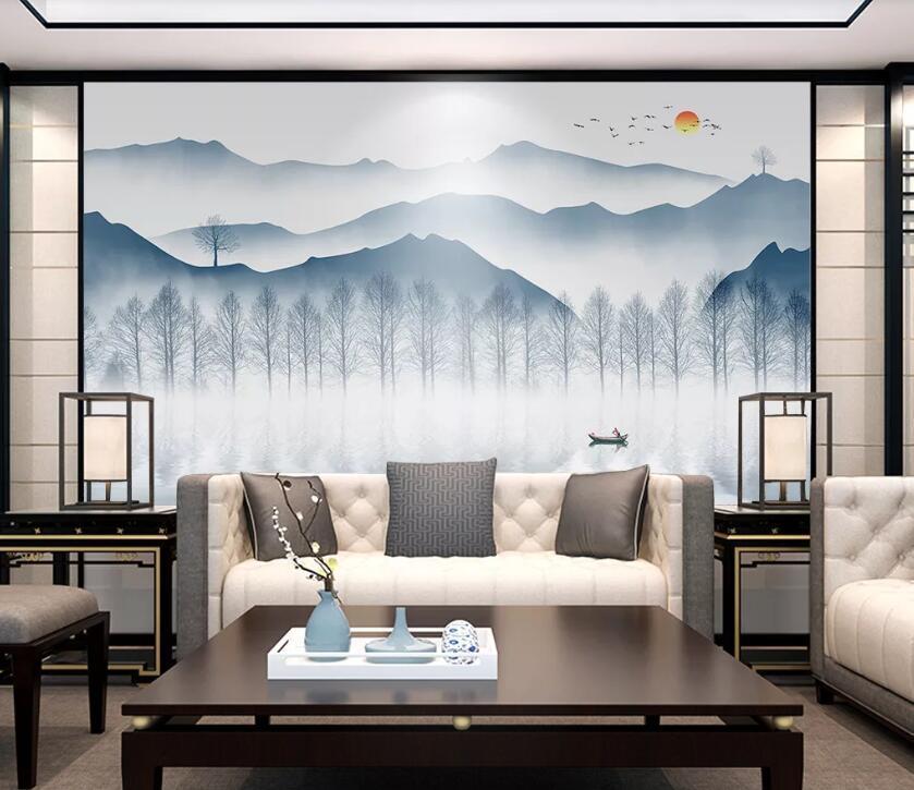 [Self-Adhesive] 3D Painted Wall Paper inchiostro Mountain WC0506 murale muro stampa Sticker per pareti Muzi