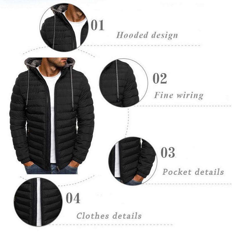 DIHOPE 2020 Winter Hooded Jackets Padded jacket men Thicken Warm Lightweight Parkas New Males Windproof Jackets