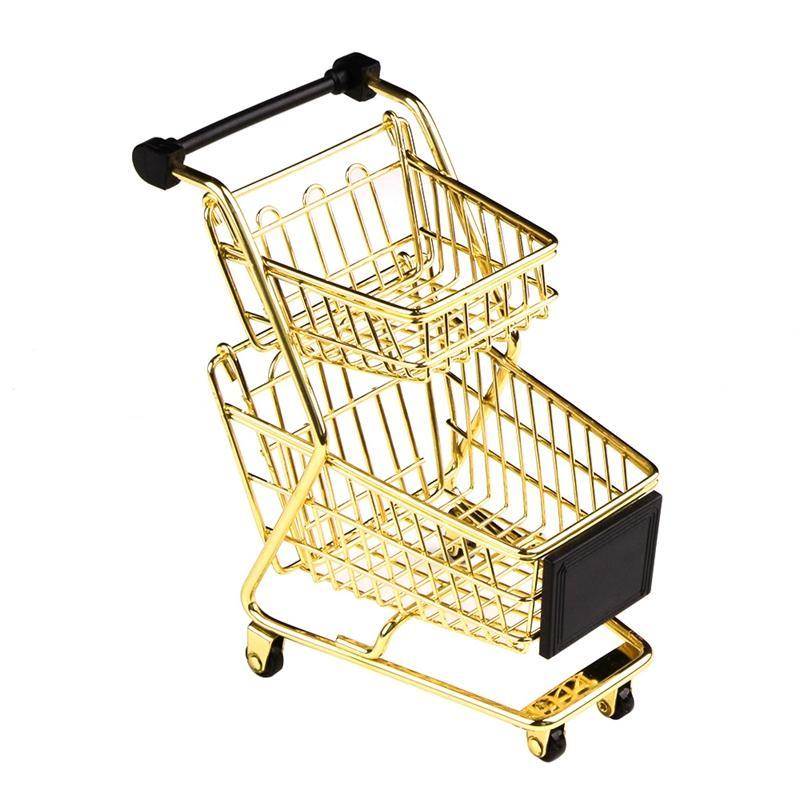 Mini Double Layers Shopping Cart Model Wrought Iron Supermarket Trolley Metal Rose Gold Storage Basket