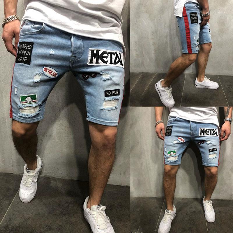 Longueur du genou avec un pantalon court avec poches à glissière Lettre Trou Floral Summer Shorts Hommes Designer Casual Bleu Slim Jeans Hommes