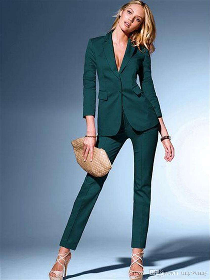b548c560e03 Womens Dark Green Suits Blazer with Pant Business Suits Formal Office  Elegant Suits for Weddings Slim