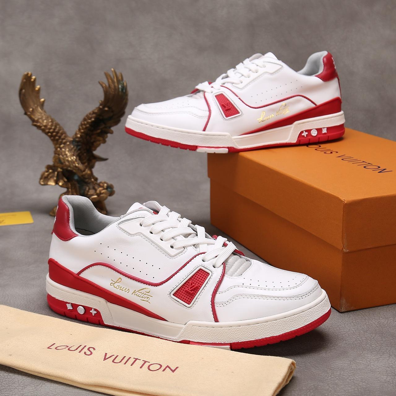chaussures hommes de luxe de la mode de haute qualité en cuir décontractée chaussures de sport à lacets hommes hommes respirant FORMATEUR espadrille avec boîte packaking 1A54H5