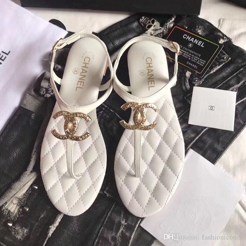 48d22eab Ladies Slippers 2019 Newest Fashion Luxury Designer Womens Shoes Flats C C  Sandals Summer High Quality Beach Slippers WITH BOX EUR 35 40 Leather ...