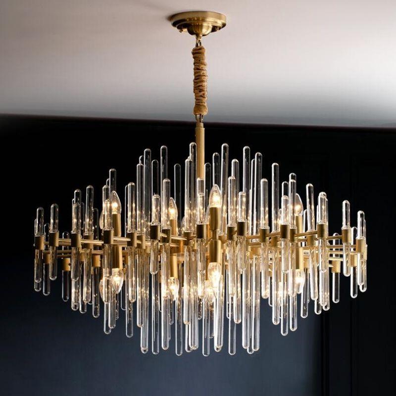 Современная светодиодные хрустальные люстры Nordic медной люстра для гостиной простой столовой комнаты лампы роскошной виллы украшение лампы