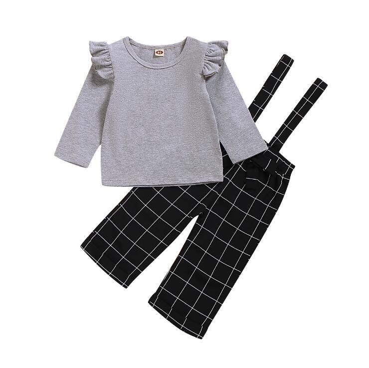 2Pcs Newborn Toddler Baby Girl Outfits Ruffle Sleeve White Shirt Tops+Plaid Overall Shorts Clothes Set