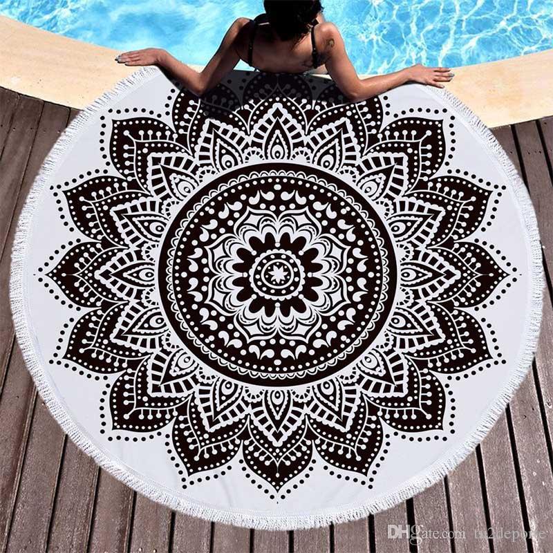 Rodada Mandala de Microfibra Toalha De Praia Geometria Terry Grosso Com Borlas Rodada Cobertor de Praia Lance de Piquenique Tapete de Ioga Ultra Macio 59 Polegada