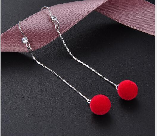 Toptan kırmızı S925 gümüş kulak kancası uzun zarif kız süper ölümsüz gelin cheongsam earrings470