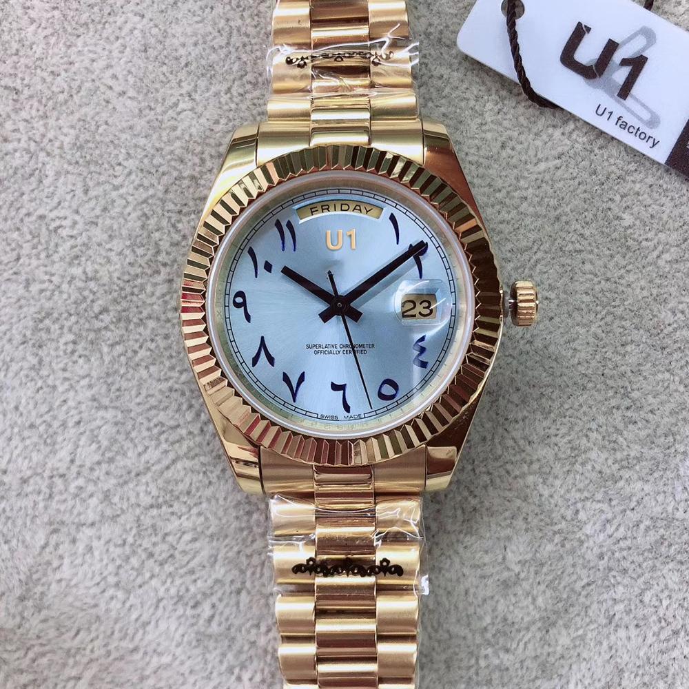 U1 Fabrik Voller Gold Day Date 41MM Silber New blauen arabischen Zifferblatt 228239 automatische mechanische Saphirglas Präsident Stahl Männer Armbanduhren