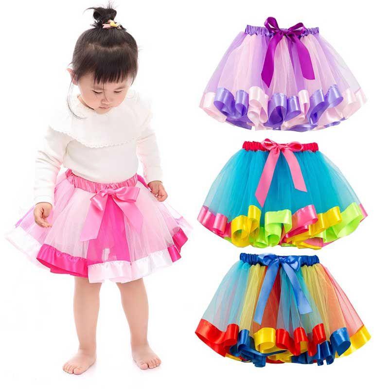 Baby Girls Tulle Skirt Kids Cute Rainbow Mini Tutu Skirt Beautiful Party Princess Skirts Children Summer Clothing