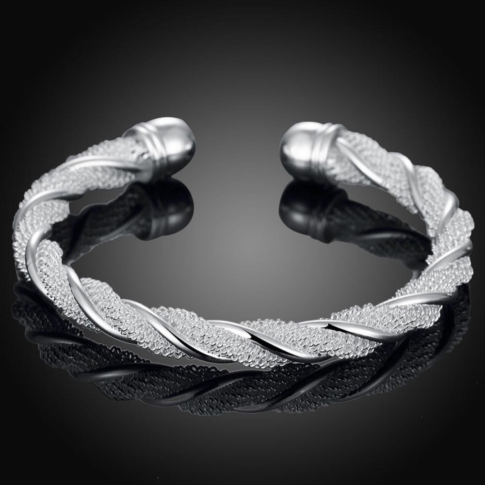 KASANIER 5pcs Europa und den Vereinigten Staaten Silber Schmuck Armbänder Verzerrung Linie Armband Art und Weise runde Form Frauen Silber Armreif