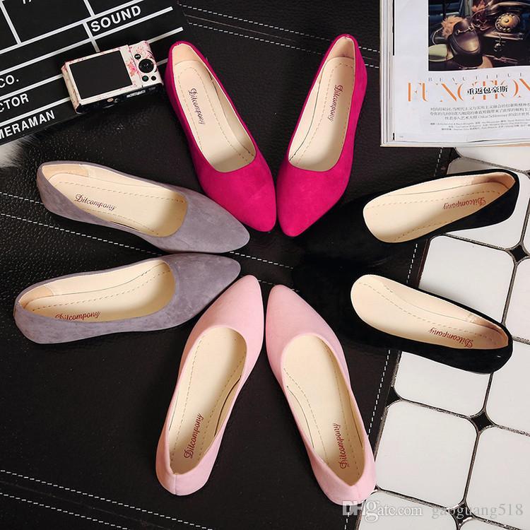 2018 новый мелкий рот гороха обувь с плоским острым носом случайные одиночные ботинки дикие модные туфли