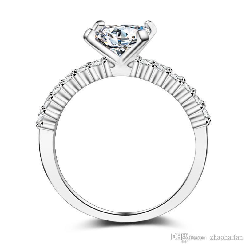 Bijoux ZHF SOLID Anneaux de mariage d'argent pour femmes 925 anneaux en argent sterling Set 1 Ct Sona CZ Diamant engagement de bijoux bague