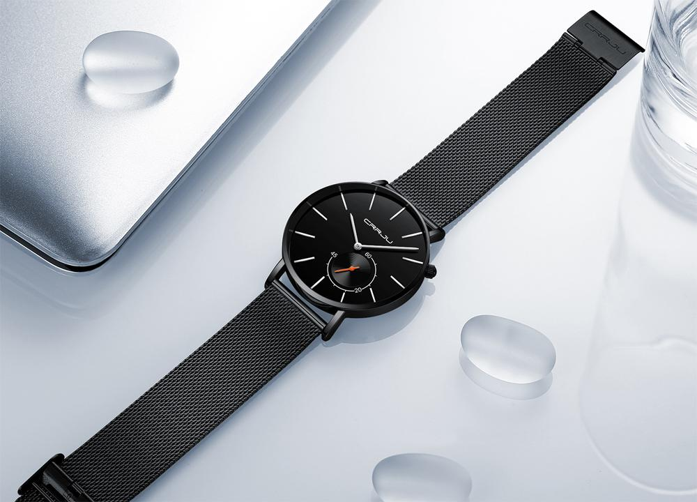 2020 Crrju Männer Uhren Marke Luxus Quarzuhr Uhren Casual Edelstahl Mesh Strap Ultra Thin Clock ReloG Armbanduhr