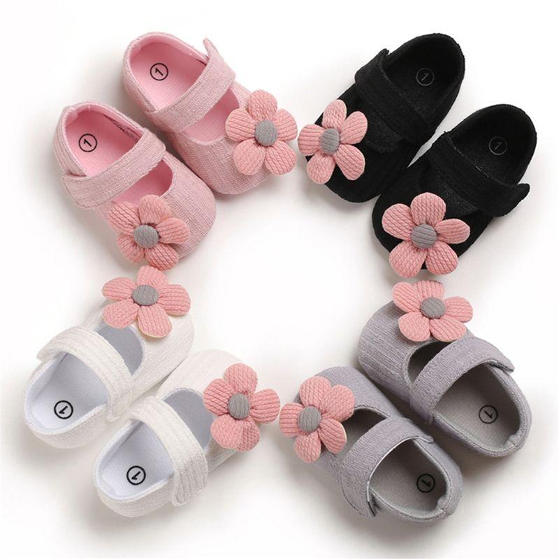 2020 Fashion Trend bebê recém-nascido meninas Princesa sapatos de pano de algodão Forma bonito Flower Ballet Verão New férias suave sapatas lisas