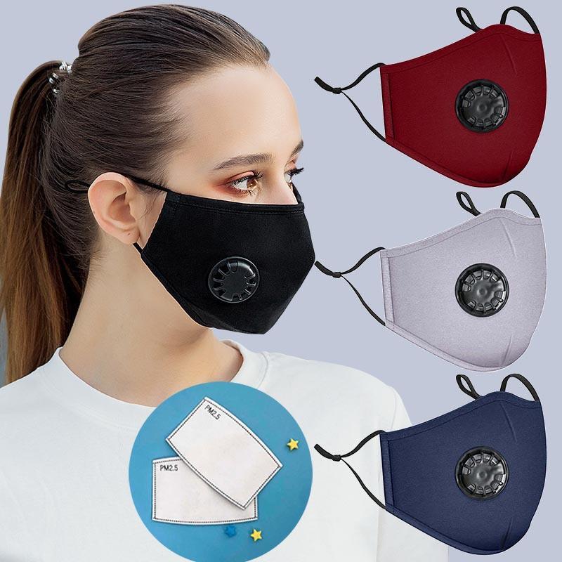 Мода хлопчатобумажная маска для лица дышащий дышащий клапан защитная маска для пылезащищенного дыма доказательство моющиеся многоразовые велосипедные маски с 2 фильтром