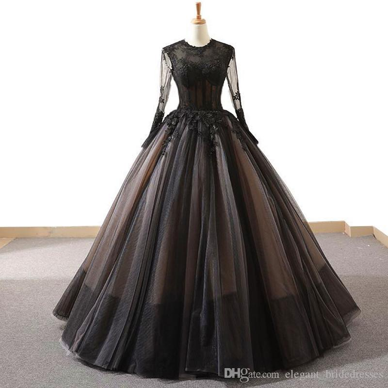 Noir manches longues Vintage haut de gamme A Ligne Robes de bal 2019 Fleurs à la main Fashion Nouvelle soirée vêtements de veille Vestidos de Fiesta de Noche
