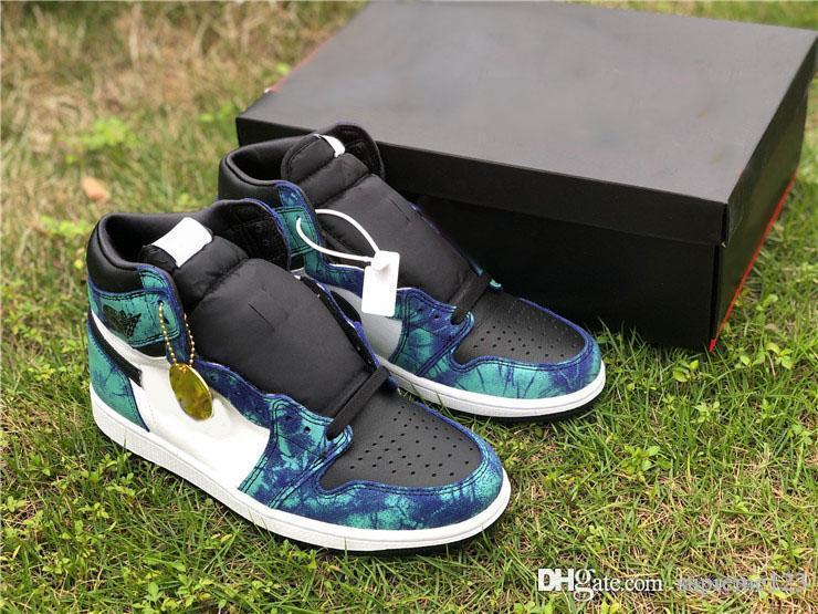 Lançamento Air Aauthentic 1 alta OG Shoes Retro WMNS Tie-Dye Basquetebol Aurora Verde Homem Mulher Sports Sneakers CD0461-100 com caixa original