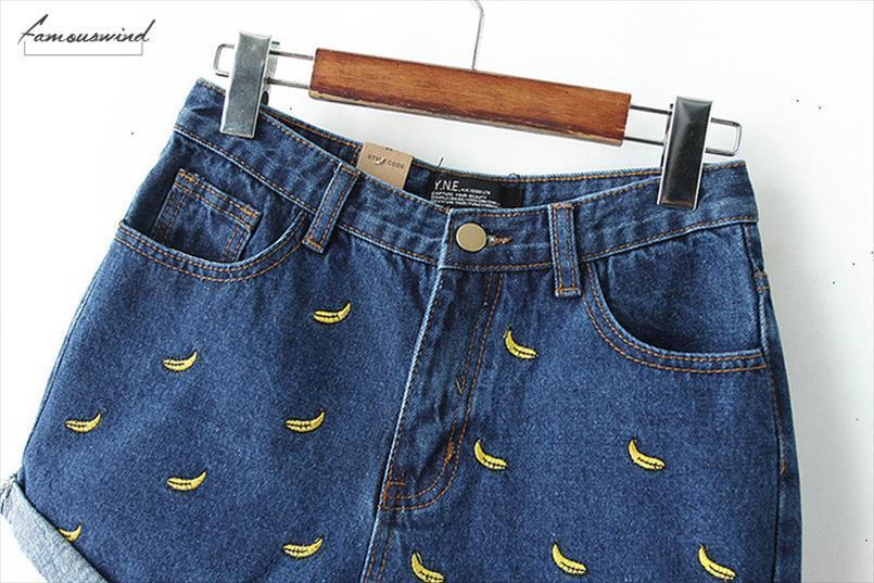 Moda donne coreane estate Banano giapponese ricamo cotone Curling Plus Size femminile casuale denim della vita Shorts