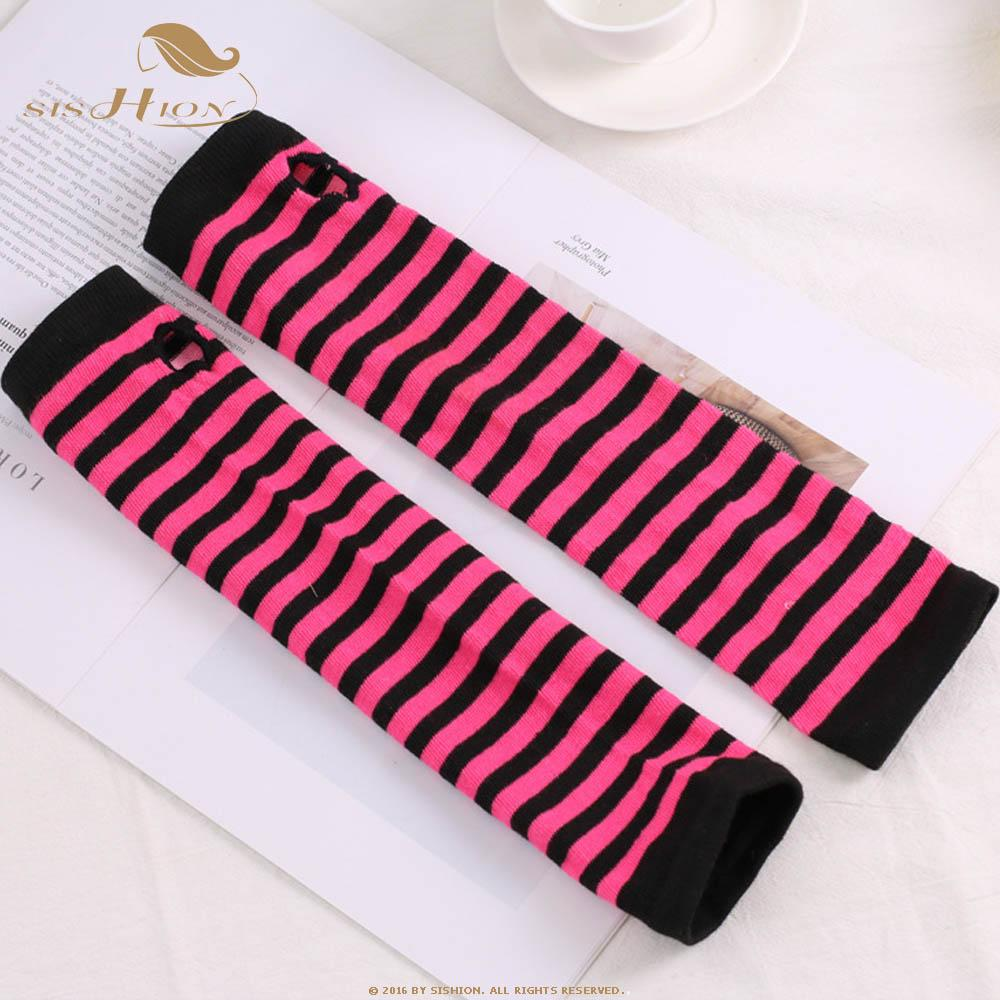SISHION Autumn Wrist Arm Hand Arm Warmers Knitted Fingerless Gloves Long Sleeve soft striped Elbow Gloves SP0527