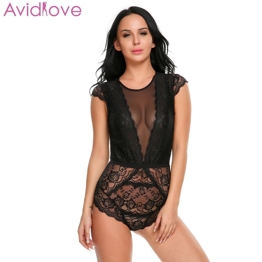 Костюм Avidlove Женщины Bodystocking Bodysuit тела Сексуальное белье Ночное Backless Лоскутная Цельный Lace Babydoll LY191222