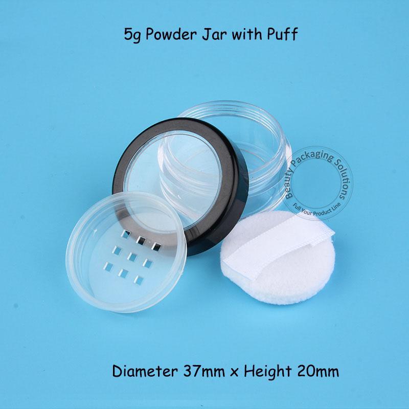 100pcs / Lot Großhandel 5g Kunststoff-Pulver Glas mit Puff Kleine 1 / 6OZ Frauen Kosmetische Flasche mit Sichter nachfüllbar Topf Container