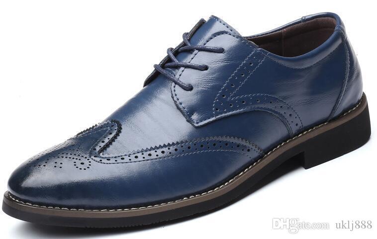 Мужская мужская повседневная корова из натуральной кожи. Обувь Oxfords British Brogue Business, босоножки, большой размер 46 47 48