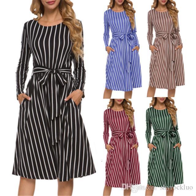 2019 New Druck Gestreifte Tasche Langarm Rundhals Sandy Beach Kleider Weibliche beiläufige Art und Weise von mittlerer Länge Tasche Krawatte Bogen lange Hemdkleid