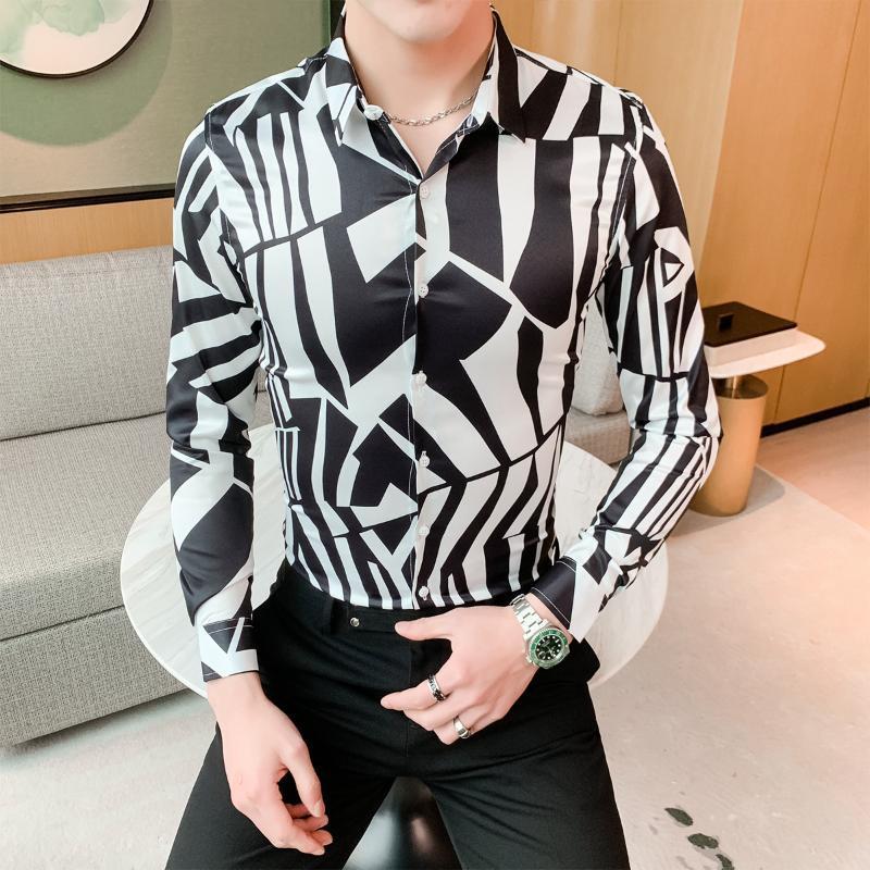 Красота мужская Цветочная рубашка горячая распродажа пэчворк цвет мужская рубашка 2020 Весна Slim Fit повседневные рубашки для мужчин ночной клуб смокинг платье