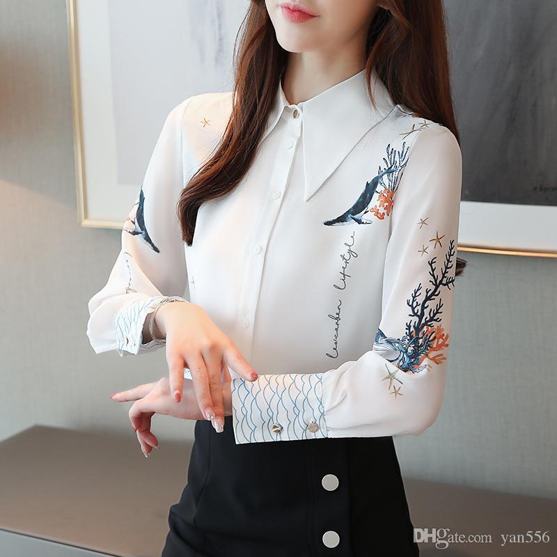 Camisas de la gasa Blusas Primavera 2020 Otoño Nueva impresión de las mujeres suelta el botón de gasa de manga larga Blusas camisas Femenina Tops 805H