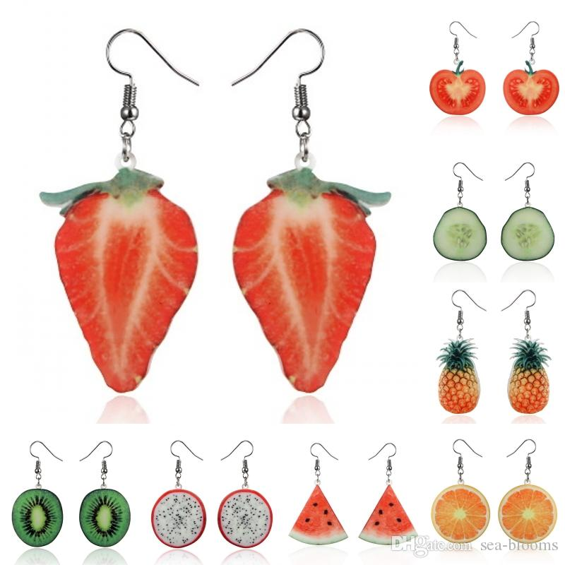 Acrylic Cute Fruit Earrings Strawberry Pineapple Tomato Kiwi Orange Cucumber Dragon Pineapple Fruit Earrings Dainty Hook Earrings U69FY