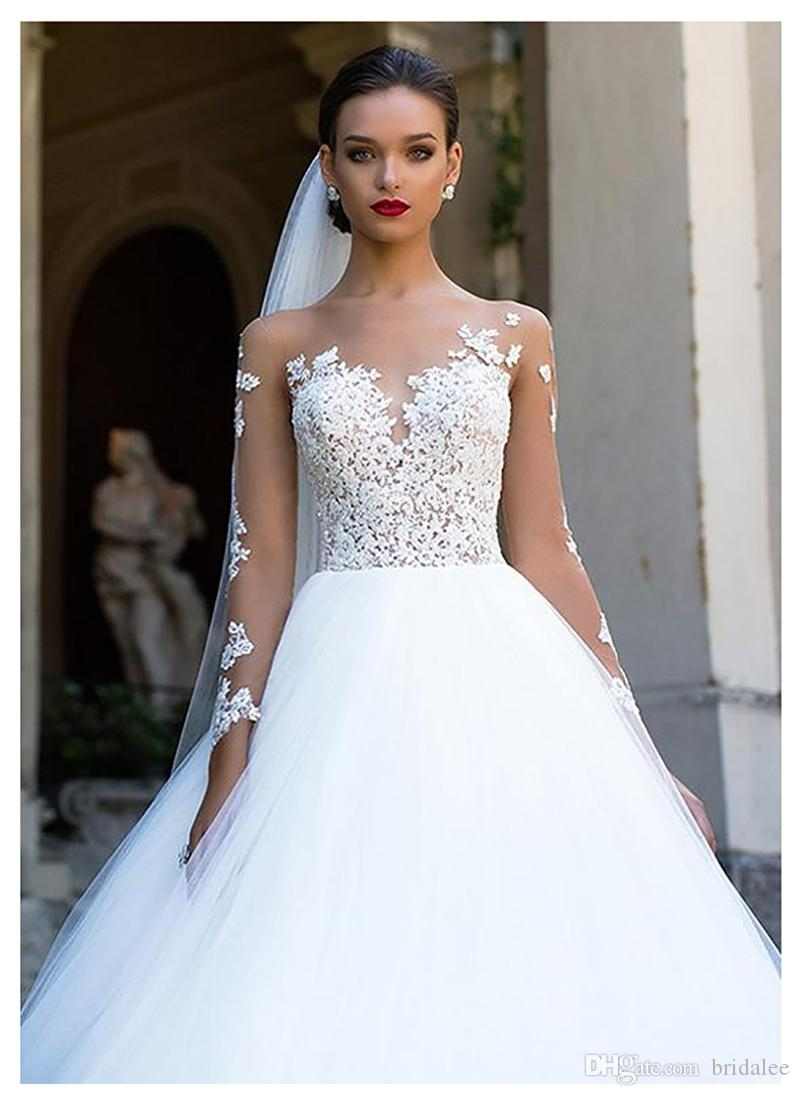 Long Sleeve Wedding Dress 2020 Beach Bridal Gown Tulle Lace Appliques Wedding Dresses White Romantic Bride Gowns Wedding Dresses On Sale Best Wedding Dress Designers From Bridalee 98 73 Dhgate Com