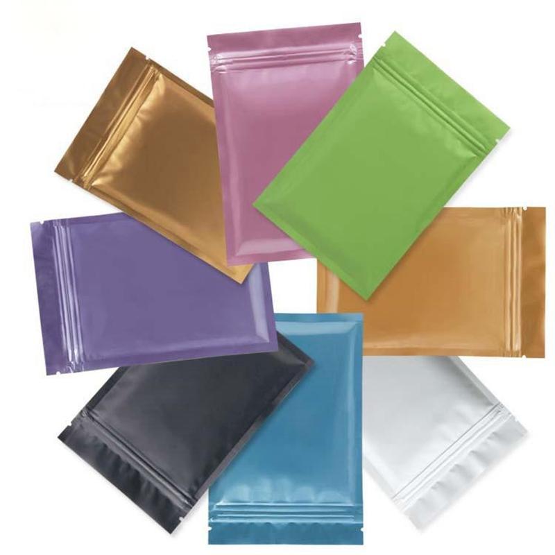 جديد أكياس البلاستيك الأسود مايلر الألومنيوم احباط حقيبة سحاب للأغذية طويلة الأجل تخزين الأغذية والمقتنيات حماية 8 ألوان اثنين من جانب اللون