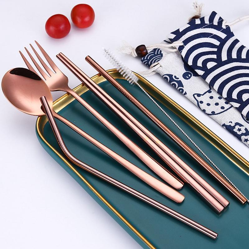 Seyahat Çatal Seti için metal Payet Kokteyli ile Sofra Takımı Paslanmaz Çelik Taşınabilir Çatal Chopsticks Çatal Kaşık