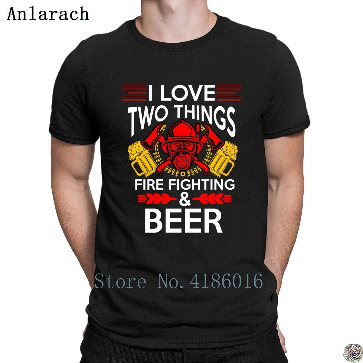 Я люблю две вещи огонь Gighting и футболки пиво поп топ тройник наряде футболка мужская футболка для мужчины сумасшедший о шеи Весна популярные