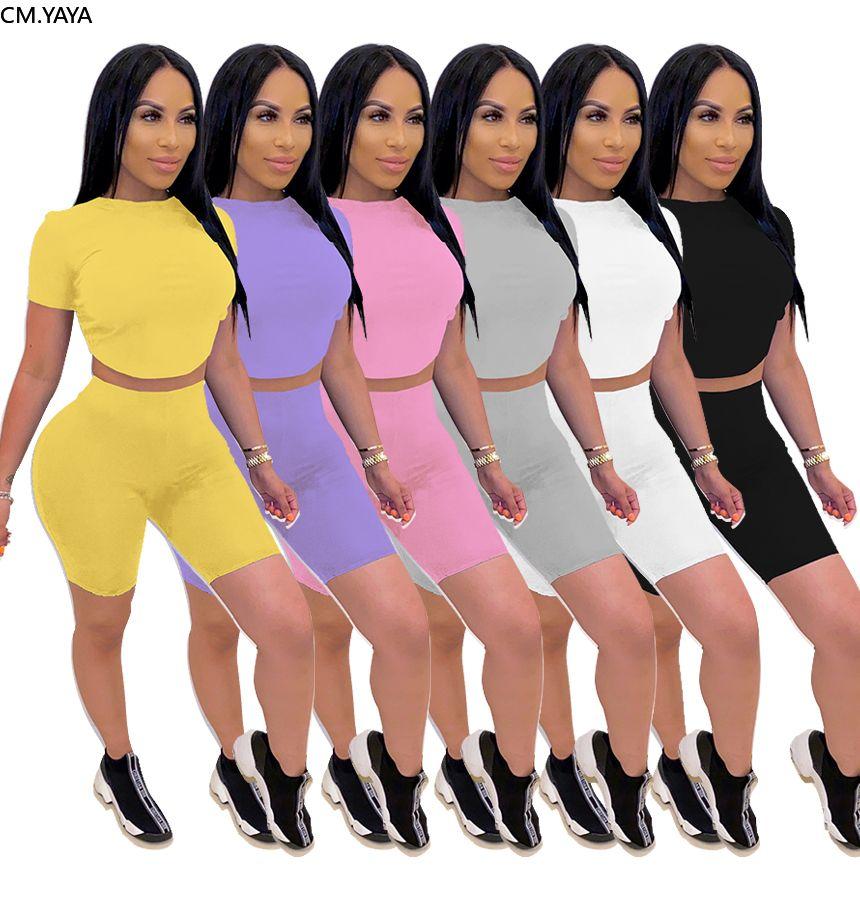 Женщины набор сплошной цвет двух частей набор O-образным вырезом Открытая спина Сексуальная футболка шорты Jogger Suit Sporting Tougsuit Outfit