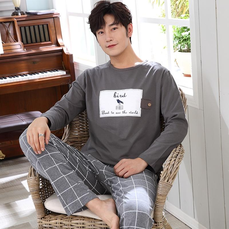 QiAqe Autumn men's clothes clothes home furnishing clothing knitted cotton long-sleeved pajamas large size sports leisure outdoor wear boy s