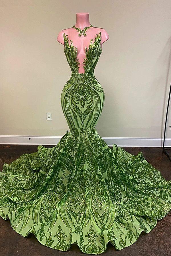 Sparkly Pullu Zeytin Yeşil Mermaid Afrika Gelinlik Modelleri 2020 Siyah Kızlar Uzun Mezuniyet Elbise Artı Boyutu Örgün Abiye giyim