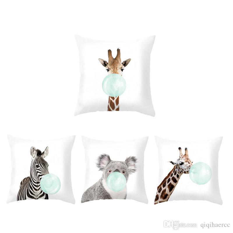 Coussin Animal Coussin Décoratif Africain Coussins Coussins Girafe Zèbre Lapin Koala Bubble Oreiller Vert Et Rose Mignon