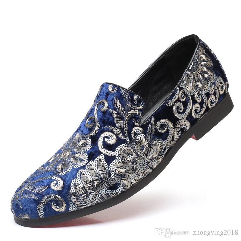 Mode Design auffallend Männer Kleid Schuhe Floral Casual Männer Stickerei Schuhe auffällige Männer rutschen auf Schuhe zy248