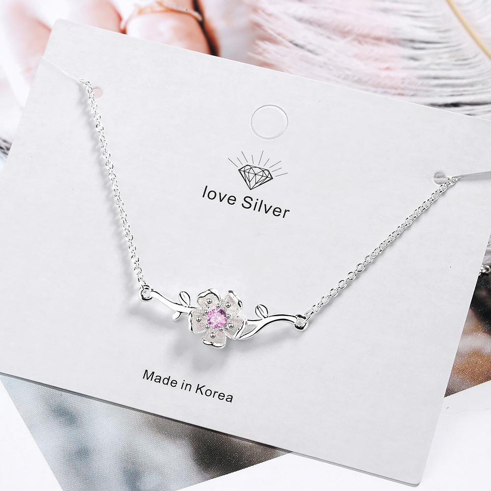 Womens collana Pink Cherry Blossom Art Fan versione coreana del Paragrafo clavicola catena Diamond Flower Pendant Ins cuore ragazza Breve