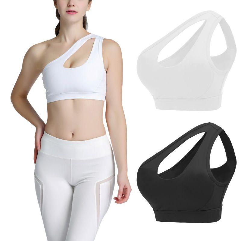 Kadınlar Seksi Tek Omuz Artı boyutu Spor Bra Hızlı kuruyan Güzellik Geri Spor Eğitimi Yoga Fitness İç
