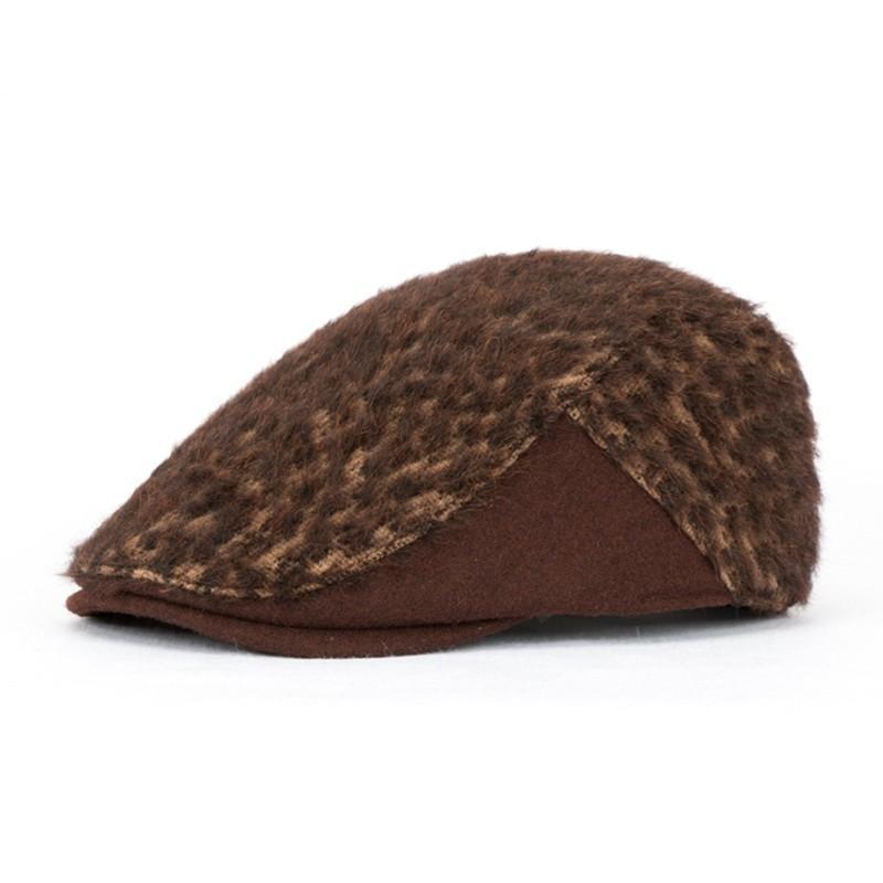 2018 lanas del invierno del leopardo plana gorras adultos al aire libre causal del vendedor de periódicos de calidad superior del casquillo de la boina del casquillo para hombres y mujeres