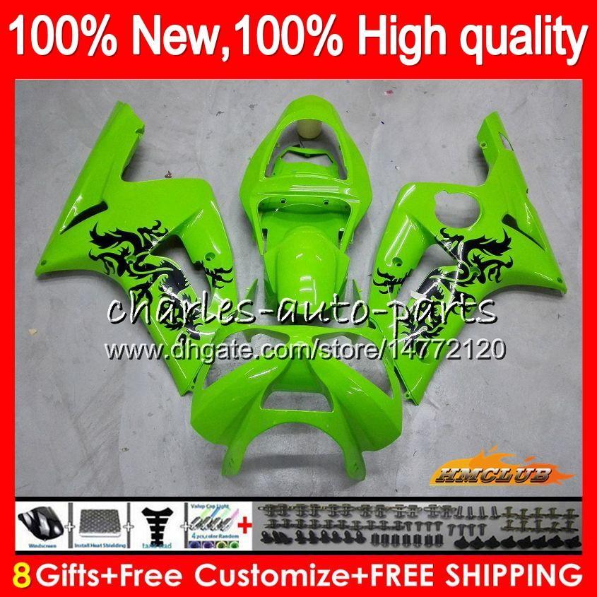 Corpo per Kawasaki 600cc ZX600 luce verde in alto kit ZX636 ZX6R 03 04 36HC.7 ZX 6 R 636 ZX 6R 03 04 ZX636 ZX600 ZX6R 2003 2004 completa carenatura
