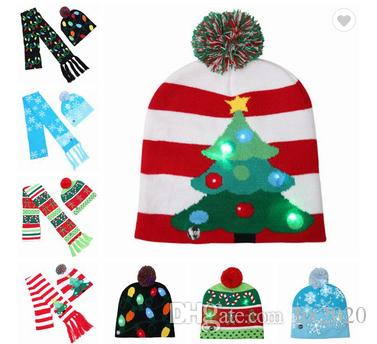 2018 new Christmas hat adult children color ball hat Christmas Halloween LED light knit hat JXW286