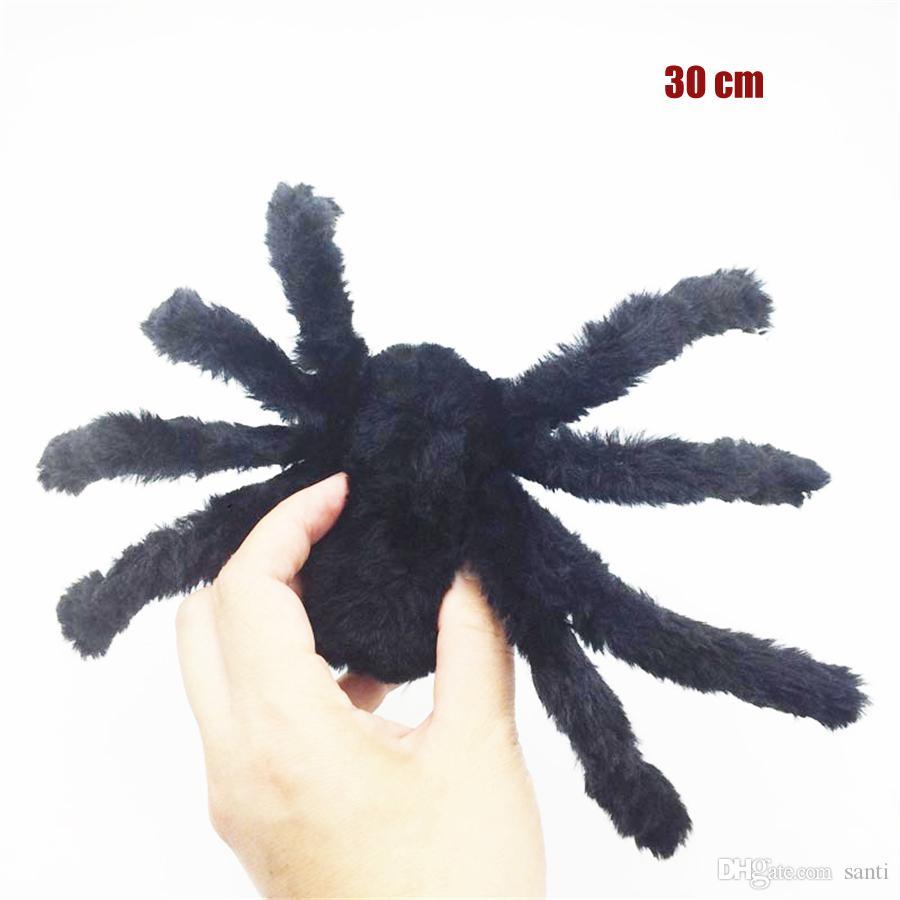 30 cm Halloween Party Realistic Cabeludo Black Spider Plush Toy assustador Decoração Haunted House Prop Indoor Outdoor Decoração da jarda JK1909XB