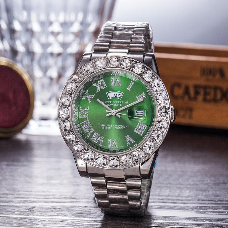 2018 relojo Luxury Mens Brand Men 시계 빅 다이아몬드 데이 데이트 브랜드 스테인레스 스틸 Perpetual President 자동 다이아몬드 손목 시계 Watche