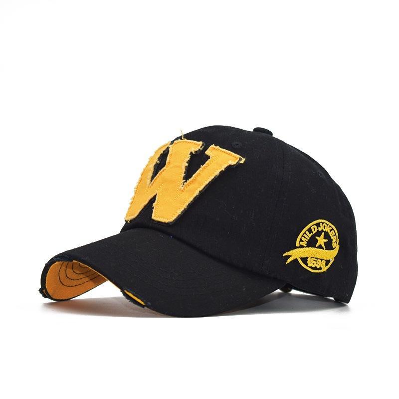 패션 클래식 이탤릭 W 글자 수 놓은 야구 모자가 씻어서 야외 태양 모자를 퇴색하지 않았습니다.